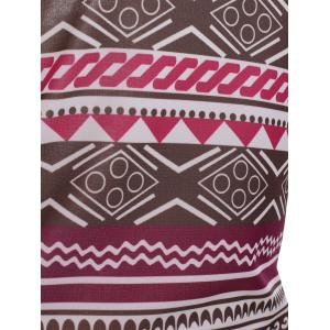 Square Neck Printed A-Line Aztec Print Dress -