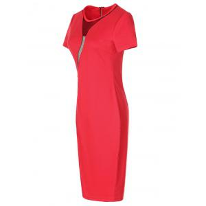 Alluring Back Zipped Mesh Patchwork Dress For Women - RED 3XL