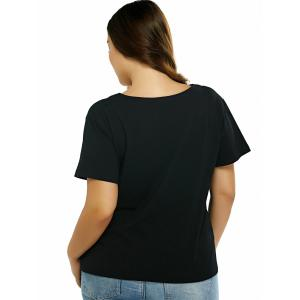 Plus Size Cut Out Black T-Shirt - BLACK 5XL