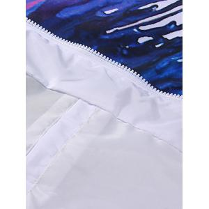 Different Color Paint Dripping Zip Up Hooded Jacket For Men - WHITE XL