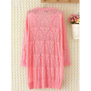 Long Sleeve Oversized Openwork Buttoned Long Cardigan - PINK 2XL