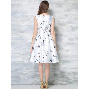 Elegant High Waist Sleeveless Floral Print Women's Dress -