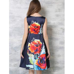 Fashionable Zippered Floral Print Dress -