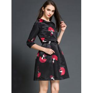 Charming Round Neck 3/4 Sleeve Printed Women's Dress - BLACK L