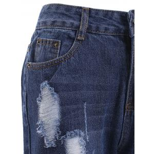 Trendy Bleach Wash Distressed Ripped Skinny Jeans -