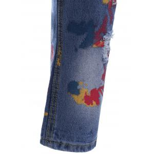 Trendy Bleach Wash Distressed Ripped Print Jeans -