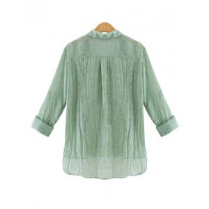 Gauzy Pure Color High Low Shirt For Women -