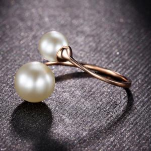 Faux Pearl Rose Gold Cuff Ring -