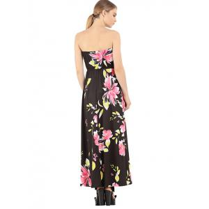 Chic Floral Print Strapless Maxi Dress -