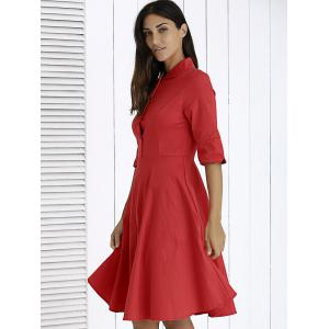 Chic Button-Up Solid Color Flare Dress For Women -
