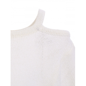 Fashion One Shoulder Scalloped Sleeve Knitted T-Shirt -