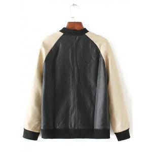 Long Sleeve Stand Collar PU Splicing Jacket -