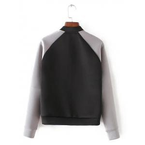 Long Sleeve Stand Collar Bomber   Jacket -