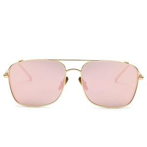 Stylish Metal Frame Pink Mirrored Sunglasses For Women - PINK