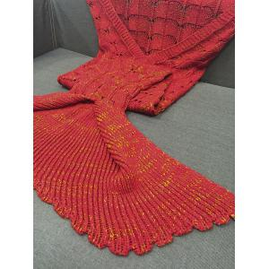 Chic Quality Knitting Hollow Out Design Mermaid Shape Blanket - RED