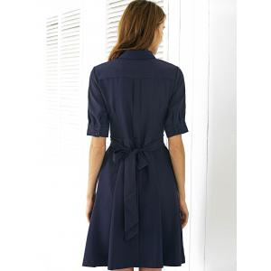Casual Pure Color Bowknot Dress For Women -