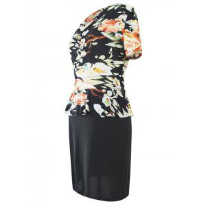 Chic Cowl Neck Short Sleeve Floral Print Women's Dress -