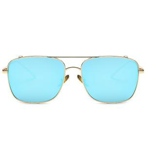 Stylish Metal Frame Rectangle Mirrored Sunglasses For Women - BLUE
