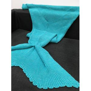 Warmth Knitting Solid Color Mermaid Design Blanket - AZURE