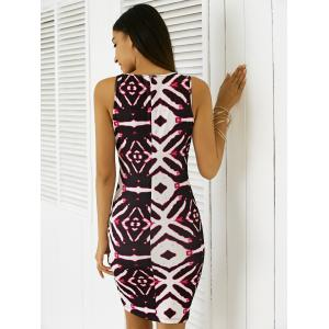 Chic Sleeveless Printed Bodycon Dress - WHITE XL