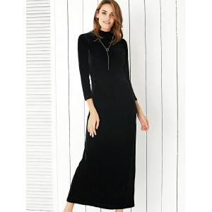 Velvet Slit Open Back Maxi Formal Dress - BLACK 2XL