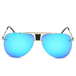 Stylish Frameless Pilot Mirrored Sunglasses - BLUE