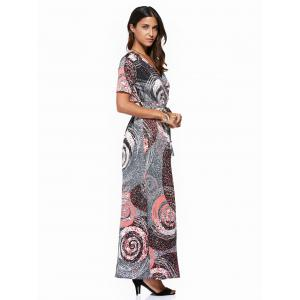 Vintage V-Neck  Circle Printed Plus Size Dress For Women -