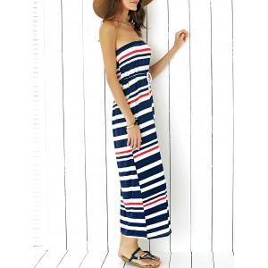 Maxi Strapless Stripe Drawstring Casual Dress -