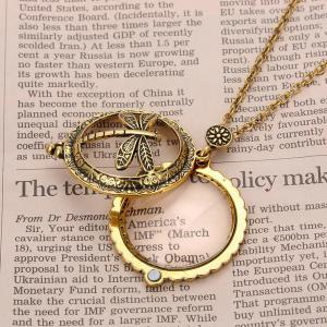 Retro Copper Plated Carved Dragonfly Magnifying Galss Sweater Chain For Women -
