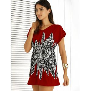 Casual V-Neck Printed Elastic Waist Dress For Women - RED ONE SIZE