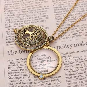 Cut Out Life Tree Magnifying Glass Sweater Chain - COPPER COLOR