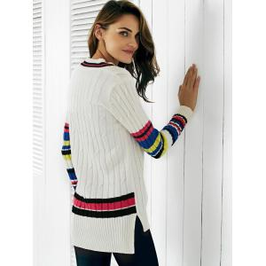 Trendy V-Neck Color Block Ribbed Women's Sweater -