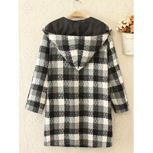Plus Size Plaid Double Hooded Breasted Coat - WHITE/BLACK 2XL