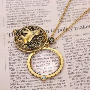 Elephant Filigree Round Magnifying Glass Sweater Chain -