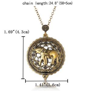 Elephant Filigree Round Magnifying Glass Sweater Chain - COPPER COLOR