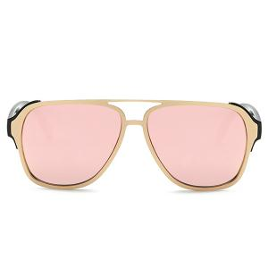 Stylish Cut Out Pink Pilot Mirrored Sunglasses For Women -