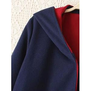 Plus Size Cuffed Sleeve Two Tone Coat - BLUE/RED 3XL