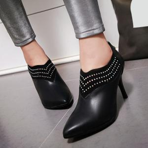Chic Splicing and Rhinestones Design Ankle Boots For Women -
