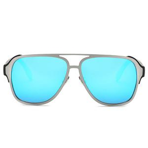 Stylish Cut Out Pilot Mirrored Sunglasses For Women - BLUE