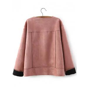 Plus Size Chic Faux Suede Fabric Jacket - NUDE PINK 3XL