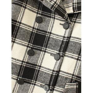 Plus Size Plaid Woolen Double Breasted Coat - WHITE AND BLACK 3XL