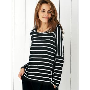 Batwing Sleeve Striped T-Shirt -