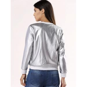 Glossy Pure Color Jacket For Women - SILVER 2XL