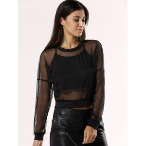 See-Through Mesh Blouse For Women -