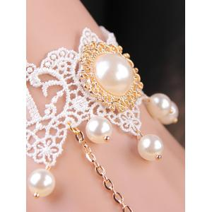 Faux Pearl Lace Bracelet with Ring - WHITE