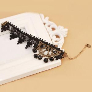 Handmade Lace Crochet Faux Crystal Anklet - BLACK