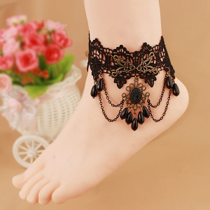 Chic Style Lace Waterdrop Faux Pearl Tassel Anklet For Women -