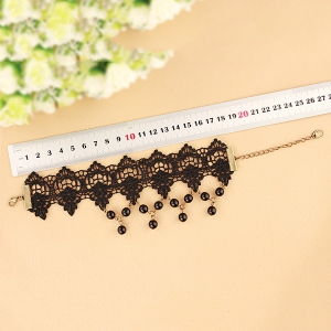 Lace Faux Pearl Tassel Hollow Anklet - BLACK