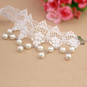 Trendy White Lace Faux Pearl Tassel Hollow Anklet For Women -