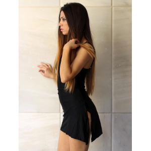 Alluring Plunging Neck Sleeveless Black One-Piece Swimsuit For Women -